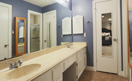 Master bathroom features low